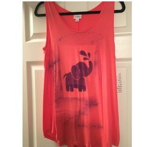 NWT LulaRoe Tank Top with Elephant stencil